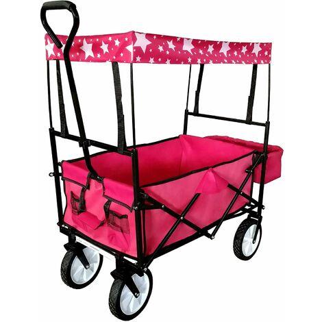 Chariot de transport pliable pratique remorque charrette jardin 115 x 55 cm rouge et noir