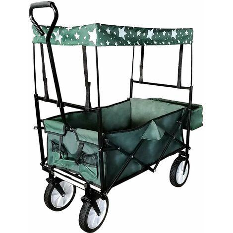 Chariot de transport pliable pratique remorque charrette jardin 115 x 55 cm vert et noir