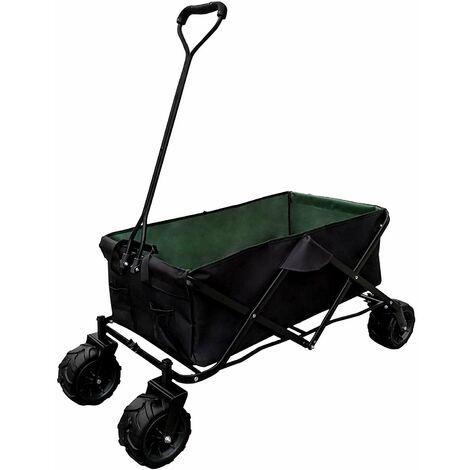 Chariot de transport pliable pratique remorque charrette jardin 117 x 54 cm vert et noir - Noir