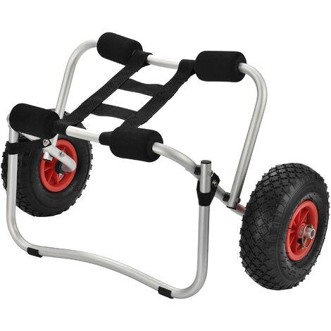 Chariot de Transport pour Bateau Équipement Pliable Canoë Kayak avec Roues et Sangle Capacité de Charge jusqu'à 70 kg