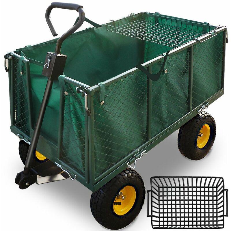 Remorque de transport 4 roues • chariot avec bâche amovible et panier métallique • charge max. 300 KG - jardin jardinage - Deuba