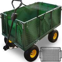 Chariot de transport vert avec bâche amovible et barre de traction - 544kg