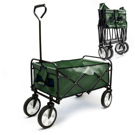 Chariot de transport vert pliable 80x46cm Bande plastique Poignées Tout terrain Diable Jardin