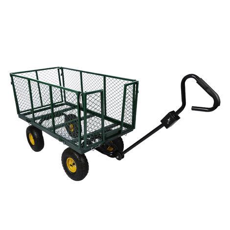 Chariot de transport XXL 550kg avec bâche amovible et grille de stockage