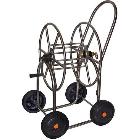 """Chariot de tuyau en inox Element de raccordement en laiton Sortie de tuyau 3/4"""" sur 4 roues"""