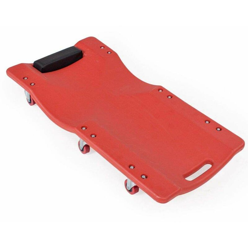 5767-0010 Chariot de visite à 6 roulettes mobile 360°, 90x41cm, forme ergonomique - Rouge - Varan Motors