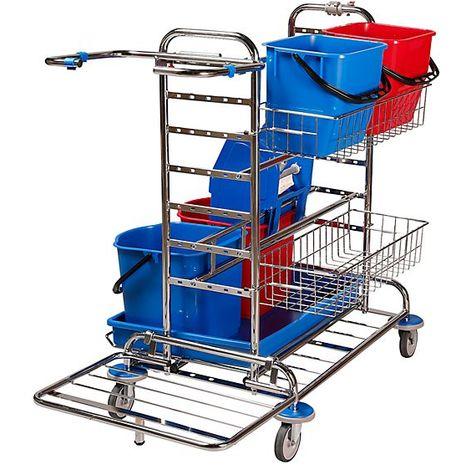 Chariot d'entretien et de service - l x p x h 1130 x 670 x 1100 mm, 2 paniers en fil, 10 balais à franges - kit balai à - Coloris: chromé