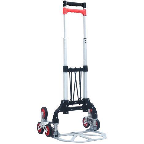 Chariot d'escalier pliable 70 kg Aluminium Argente