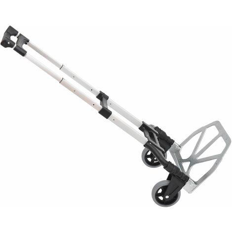 """main image of """"Chariot diable pliable leger telescopique charge 70kg en aluminium argent-noir"""""""