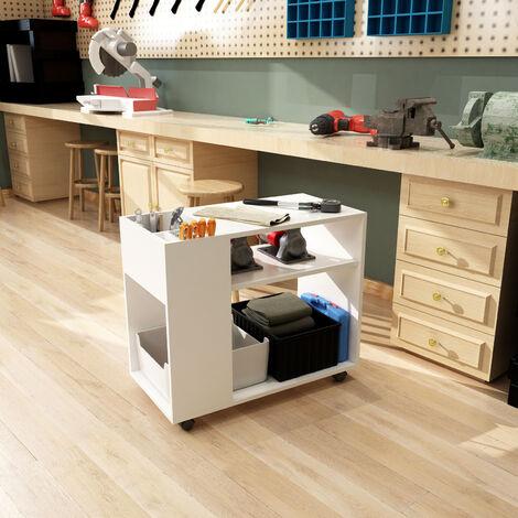 Chariot d'imprimante-Classeur avec Etagère Réglable, Roulettes Universelle pour Bureau, Salle d'Etude,Salon, Blanc-Meerveil