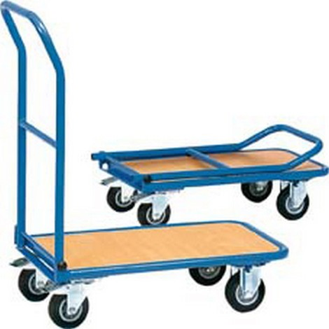 """main image of """"Chariot en tube d'acier avec arceau rabattable, Capacité : 150 kg, Dimensions 815 x 470 x 930 mm, Plateau 720 x 450 mm, Ø de roue : 125 mm, Poids : 16 kg"""""""