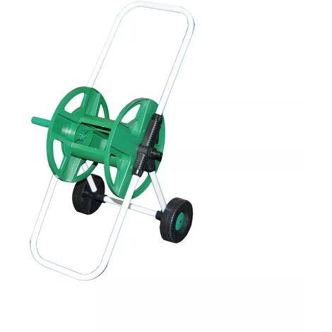Chariot enrouleur de tuyau d'arrosage en métal sur roues