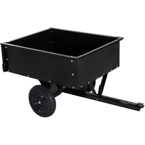 Chariot jardin/remorque basculante pour tracteur 150L x 83l x 78H cm dispositif d'attelage universel acier noir