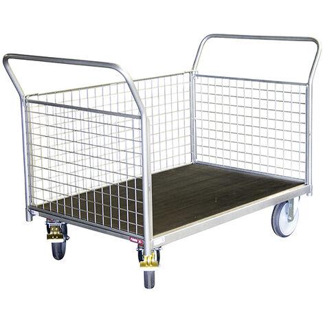 Chariot modulable grillagé 1 côté - charge max 500kg (plusieurs tailles disponibles)