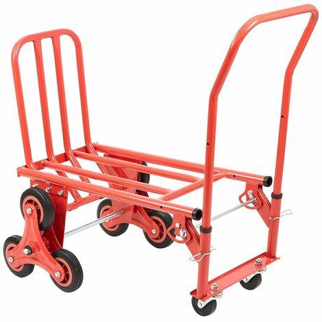 Chariot / Monte-escalier Design à trois roues Robuste avec Transport à plat - Rouge