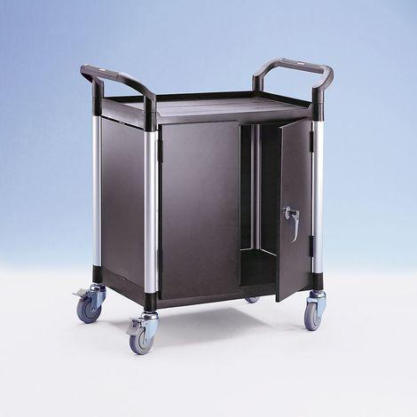Chariot multi-usages à panneaux métalliques - 2 panneaux latéraux, 1 panneau arrière, portes battantes - 2 plateaux, h x
