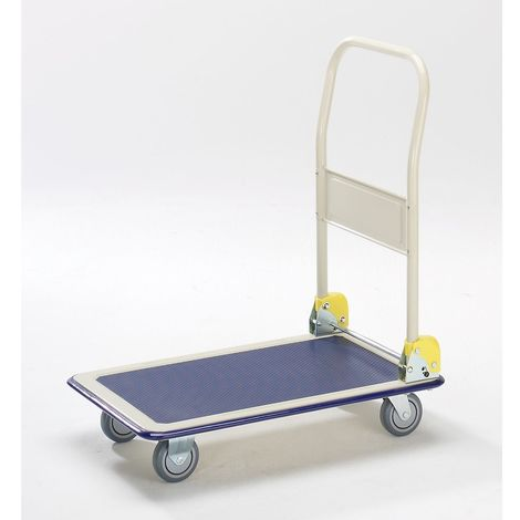 Chariot plate-forme - barre de poussée pliable - force 300 kg