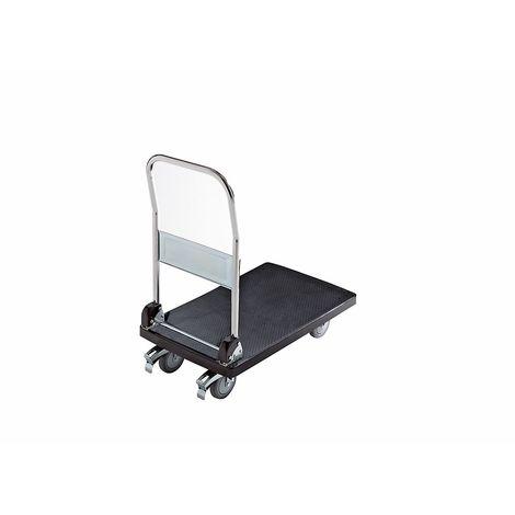 Chariot plate-forme en plastique - 1 barre de poussée pliable - force 280 kg