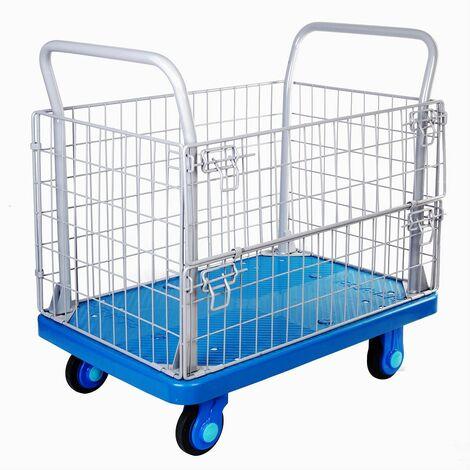 Chariot plateforme 300 kg avec cage, silencieux et très maniable MW-Tools PP300R