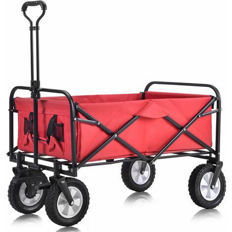 Chariot pliable à l'extérieur Chariot tout-terrain avec roues de frein larges, porte-gobelets en filet, poignée réglable, sac en tissu, rouge B2B02144_DE