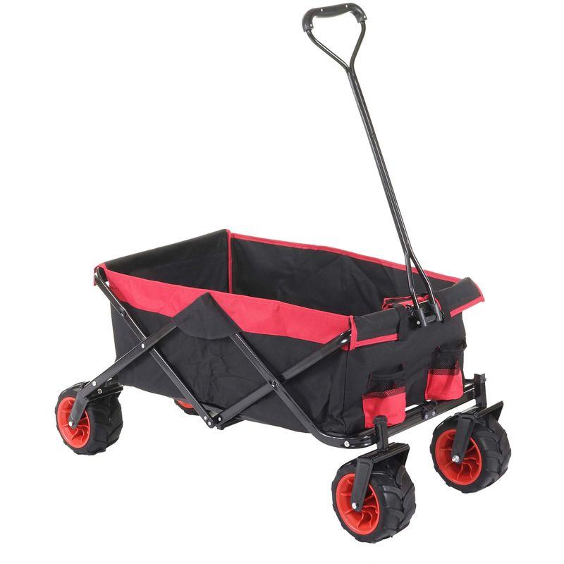 Chariot pliable 425, charette à bras, pneus tout terrain ~ sans recouvrement noir/rouge - HHG