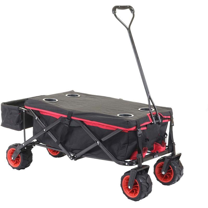 Chariot pliable 425, charette à bras, pneus tout terrain ~ avec recouvrement noir/rouge - HHG