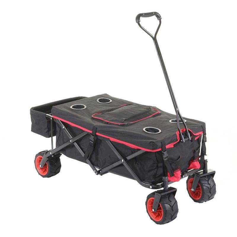 Chariot pliable 425, charette à bras, pneus tout terrain ~ avec recouvrement et sac réfrigérant noir/rouge - HHG