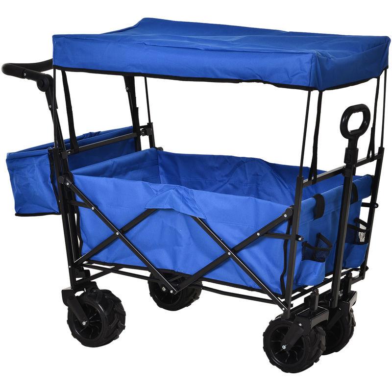 Outsunny - Chariot pliant avec toit, poignée, panier - chariot de plage - chariot de transport pliable tout-terrain métal noir oxford bleu