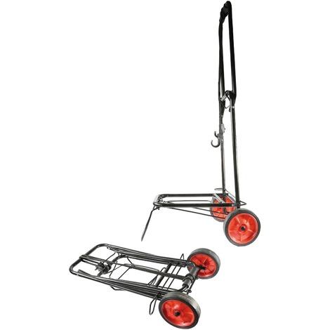 Chariot pliant multi-usages Cao Camping - Charge 40 kg - Noir et orange