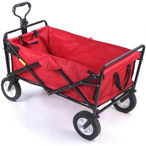 Chariot Pliant Portatif, Vehicule De Camping Multifonctionnel De Chariot A Quatre Roues Impermeable De Tissu D'Oxford 600D, Rouge