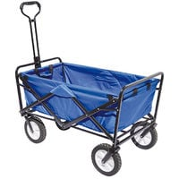 Chariot pliant pour plage coloris bleu - Dim : 89 x 48 x 58 cm