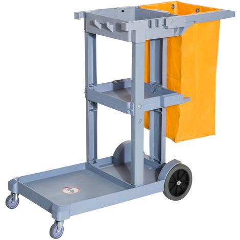 Chariot-poubelle chariot de nettoyage professionnel 3 plateaux sac grande résistance fourni jaune gris