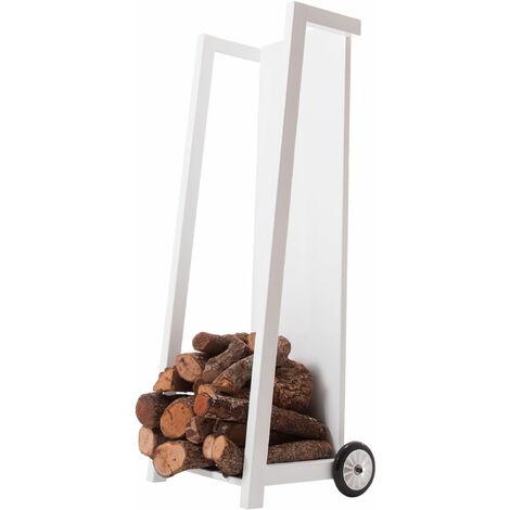 Chariot pour bois de chauffage en acier avec roulettes