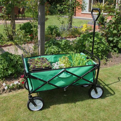 Chariot pour Jardin Pliable Caddie Utilité Brouette Vert Transport Puissant Remorque