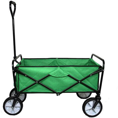 Chariot pour Jardin Pliable Caddie Utilité Brouette Vert Transport Puissant Remorque - Verte