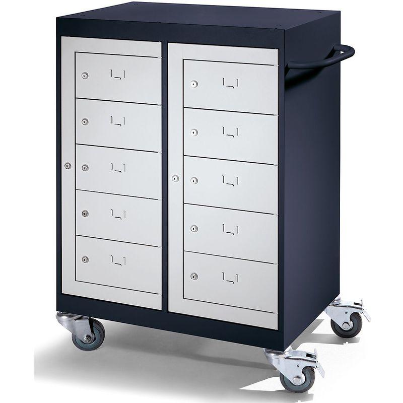 Certeo - Chariot pour ordinateurs portables - 10 compartiments - gris noir / gris clair - Coloris corps: noir