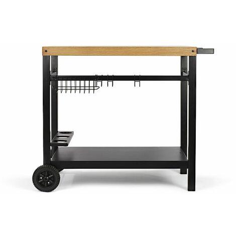chariot pour plancha noir/bois - gs131 - livoo