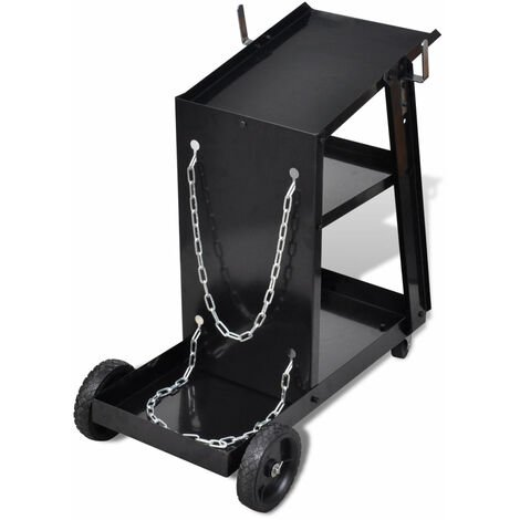 Chariot pour poste de soudure avec 3 étagères noir outils garage atelier bricolage