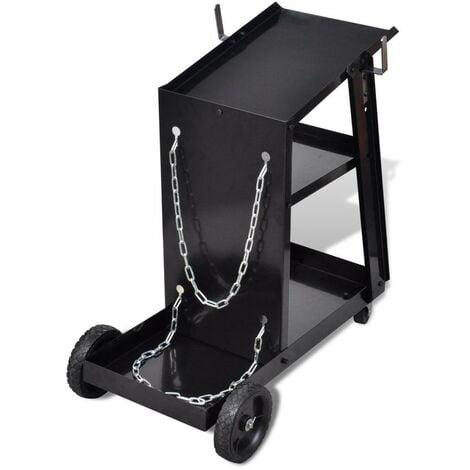 Chariot pour poste de soudure avec 3 étagères noir outils garage atelier bricolage - Noir
