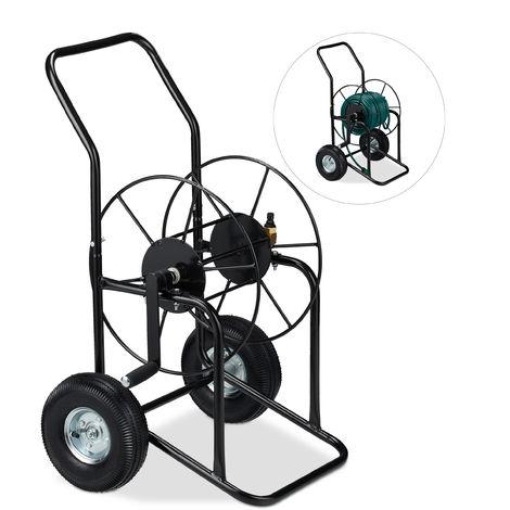 Chariot pour tuyau, tambour mobile, connexion 1/2 & 3/4 de pouce; jusqu\'à 80 de long, 2 roues, métal, noir
