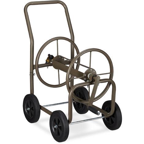 Chariot pour tuyau XL, Tambour mobile métallique, 2 connexions de 3/4 de pces, tuyau de 60 m, enroulable, brun