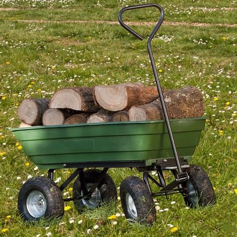 Chariot remorque de jardin vert basculant