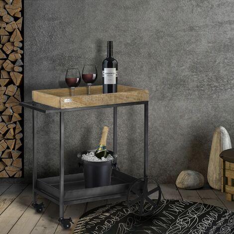 Chariot service cuisine chariot bois massif de mangue 60x40x80 cm WOMO-DESIGN®