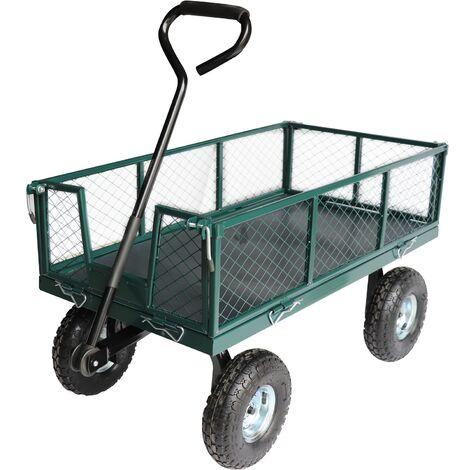 Chariot sur pneus avec ridelles grillagées amovibles 97 x 51 x 30cm