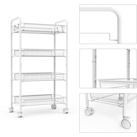 Chariots de Service, Desserte à Roulettes, 4 niveaux, 84,3 x 45 x 26 cm, Blanc, Matériau: Fer - Blanc