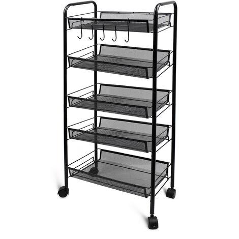 Chariots de Service, Desserte à Roulettes, 5 niveaux, 105,5 x 45 x 26 cm, Noir, Matériau: Fer