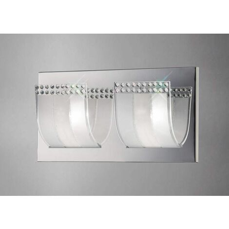 Charis wall light with switch 2 lights polished chrome / glass / crystal