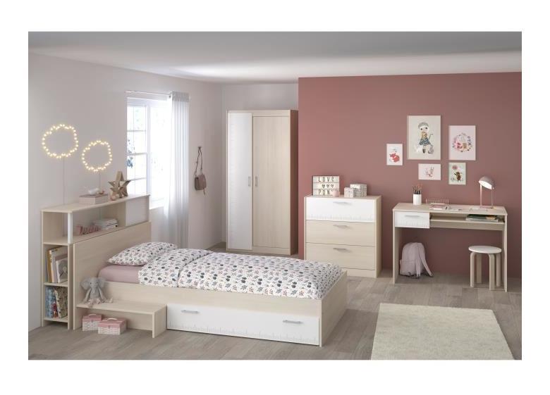 CHARLEMAGNE Chambre enfant complete - Tete de lit + lit + commode + armoire  + bureau - contemporain - Décor acacia clair et blanc Aucune