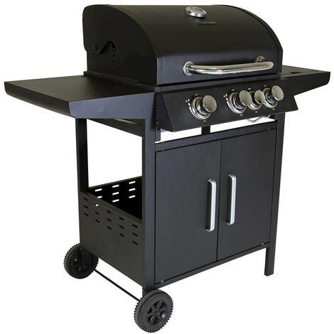 Charles Barbecue à gaz - 4 brûleurs - acier inoxydable - noir