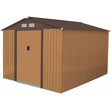 Charles Bentley 10ft x 8ft Metal Garden Storage Outdoor Shed Zinc Frame